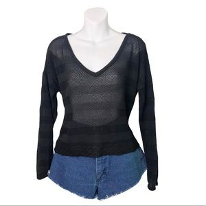 NWT En Creme | Black Split Back Pullover Sweater L